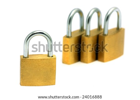 Golden locks isolated over white background.