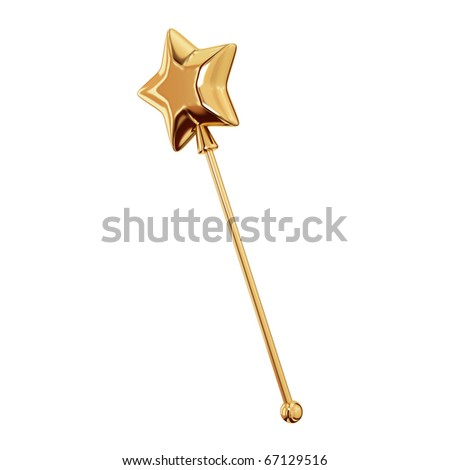 Golden magic wand. Isolated on white background.3d rendered. - stock photo