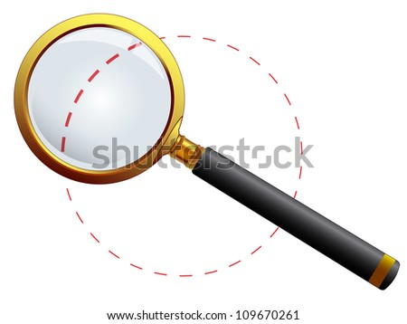 golden magnifying glass against white background, abstract art illustration - stock photo
