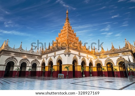 Golden Mahamuni Buddha Temple. Amazing architecture of Buddhist Temples at Mandalay. Myanmar (Burma) travel landscapes and destinations