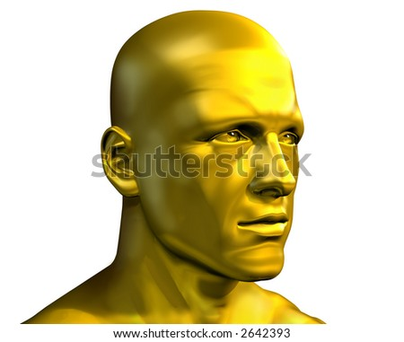 Golden Male Head - 3D render