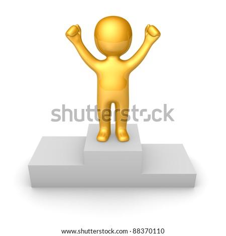Golden man figure standing on pedestal - stock photo