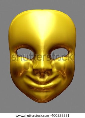 golden mask, 3D rendering - stock photo