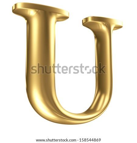Golden matt letter U in perspective, jewellery font collection - stock photo
