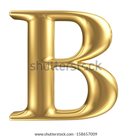 Golden matte letter B, jewellery font collection - stock photo