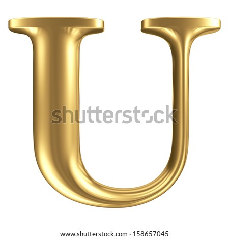 Golden matte letter U, jewellery font collection - stock photo