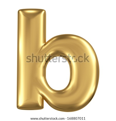 Golden matte lowercase letter b, jewellery font collection - stock photo