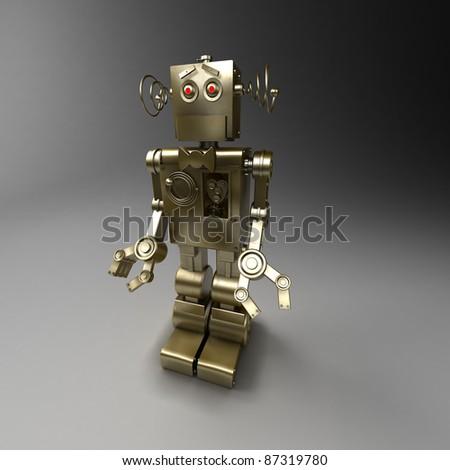 Golden mechanical robot - servant - stock photo