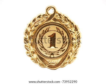 Golden medal. First palce. - stock photo