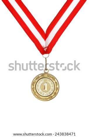 golden medal for first place with red and white ribbon