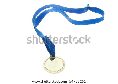 Golden medal isolate on white