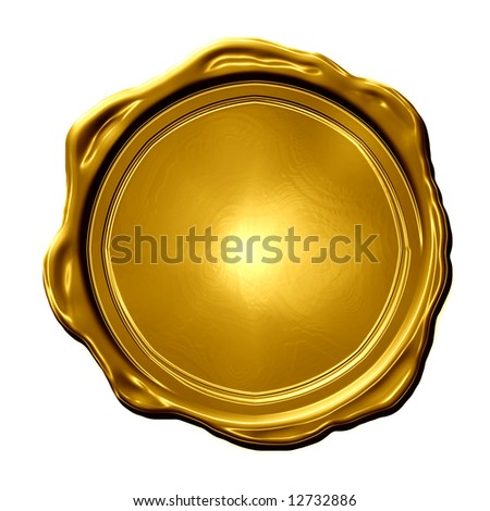 golden medal isolated on a white background - stock photo