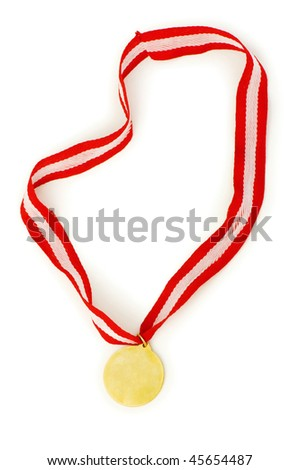 Golden medal isolated on the white background - stock photo