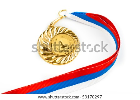 Golden medal isolated on white - stock photo