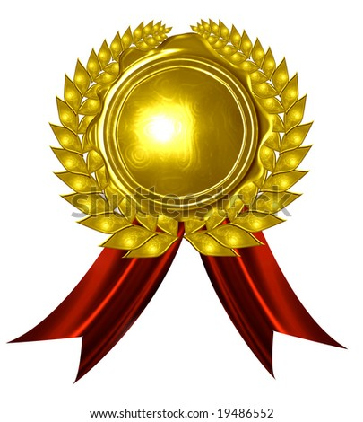 golden medal on a solid white background - stock photo
