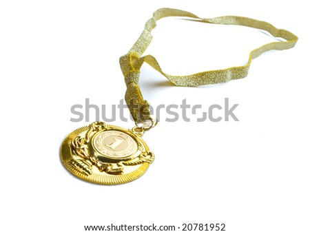 Golden medal on white ground - stock photo