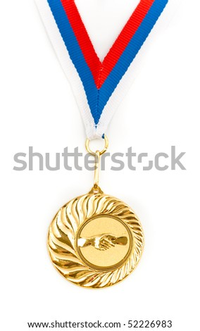 Golden medal with handshake symbol isolated