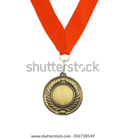 Golden medal with red ribbon isolated on white background