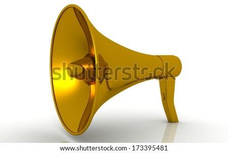 golden megaphone. 3d image. Isolated white background. - stock photo
