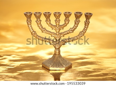 Golden Menorah - stock photo
