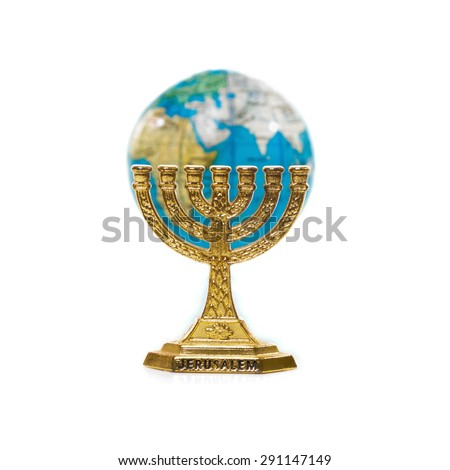 Golden Menorah and globe isolated on white background - stock photo