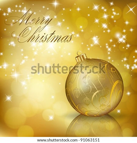 Golden Merry Christmas greeting card. Raster copy of vector illustration - stock photo