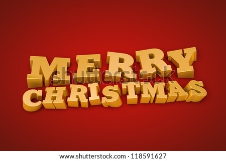 Golden Merry Christmas text on a red background (3d illustration)