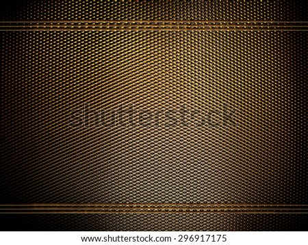 golden metal mesh background - stock photo