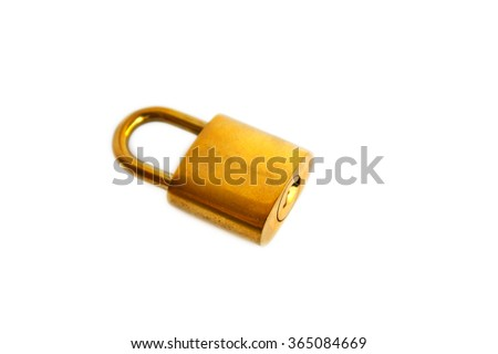 golden metal padlock isolated on white background