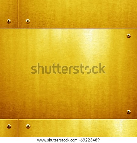 golden metal plate - stock photo