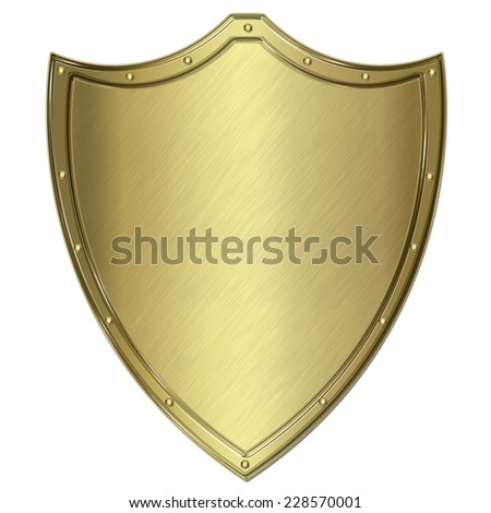 golden metal shield or crest isolated on white  - stock photo