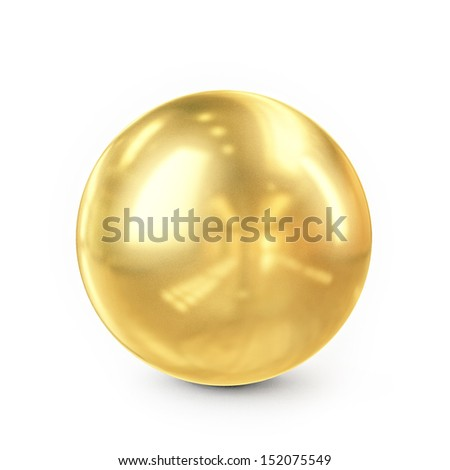 golden metal sphere isolated on white background
