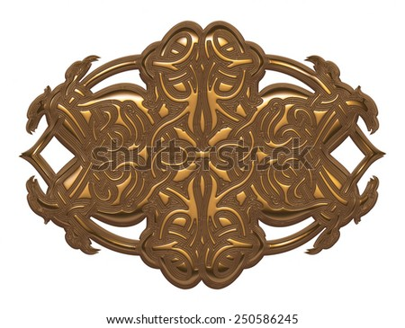 Golden metallic art nouveau on isolated white background.