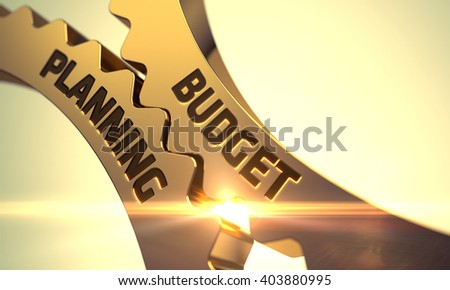 Golden Metallic Gears with Budget Planning Concept. Budget Planning Golden Metallic Cogwheels. Budget Planning on the Mechanism of Golden Gears with Glow Effect. Budget Planning - Concept. 3D.