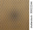 Golden metallic mesh pattern on two layers. - stock photo
