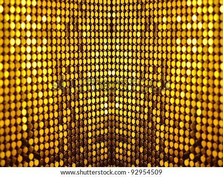 Golden, metallic, shining, sequined textile for party, disco or fashion design. More of this motif & more textiles in my port. - stock photo
