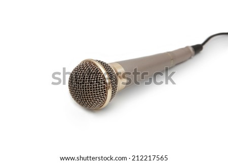 Golden microphone on white background - stock photo