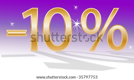golden minus, golden number, percent symbol, violet background, number ten