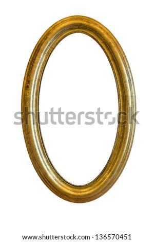 Golden mirror frame - stock photo