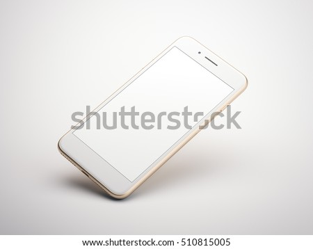 Golden modern smartphone with blank screen in a white studio. 3d rendering