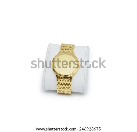golden modern wrist watch isolated - stock photo