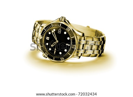 golden modern wrist watch isolated on white - stock photo