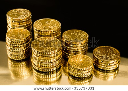 Golden Money Coins with black background. Financial market concept.