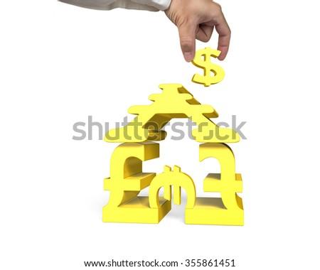 Golden money symbols house shape building with hand holding dollar sign, isolated on white background. - stock photo