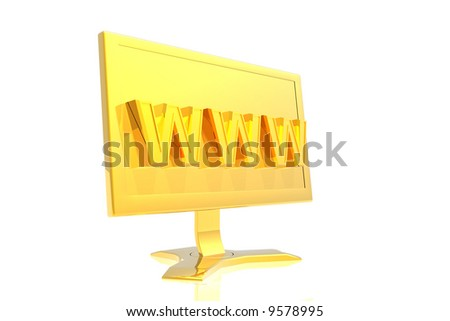 golden monitor and www sign isolated over white background - stock photo