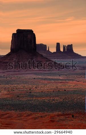 Golden Monument Valley Sunset - stock photo