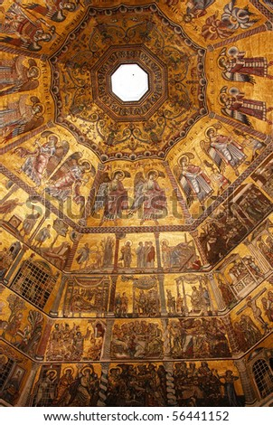 Golden mosaic in baptistery of Santa Maria dei Fiore in Florence, Italy - stock photo