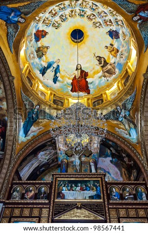 Golden mosaic in Coptic Church, Sharm El Sheikh, Sinai, Egypt - stock photo