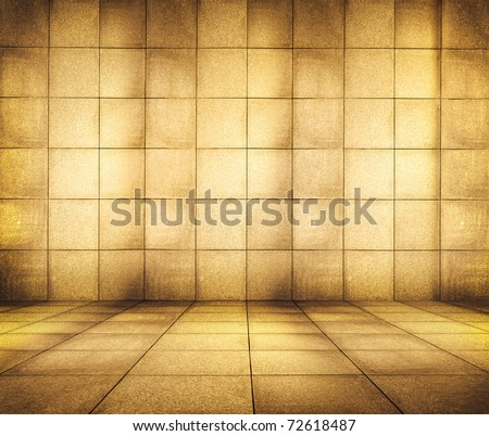 golden mosaic room, gold background - stock photo