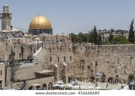 Golden Mosque and the western wall symbols of jerusalem - stock photo
